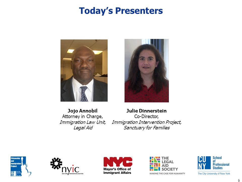 70 Allan Wernick Director CUNY Citizenship and Immigration Project Q&A: Our Panel of Experts Jojo Annobil Attorney in Charge, Immigration Law Unit, Legal Aid Julie Dinnerstein Co-Director, Immigration Intervention Project, Sanctuary for Families