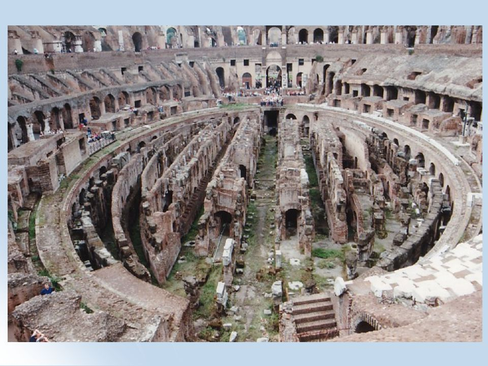 THE ARENA the floor was 86m x 54m. the floor was 86m x 54m. the floor of the Colosseum was elliptical. the floor of the Colosseum was elliptical. the