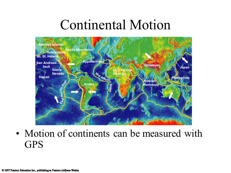 Continental Motion Motion of continents can be measured with GPS