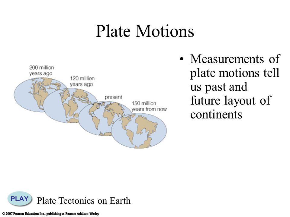 Plate Motions Measurements of plate motions tell us past and future layout of continents Plate Tectonics on Earth