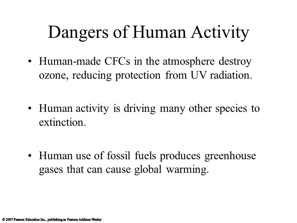 Dangers of Human Activity Human-made CFCs in the atmosphere destroy ozone, reducing protection from UV radiation.