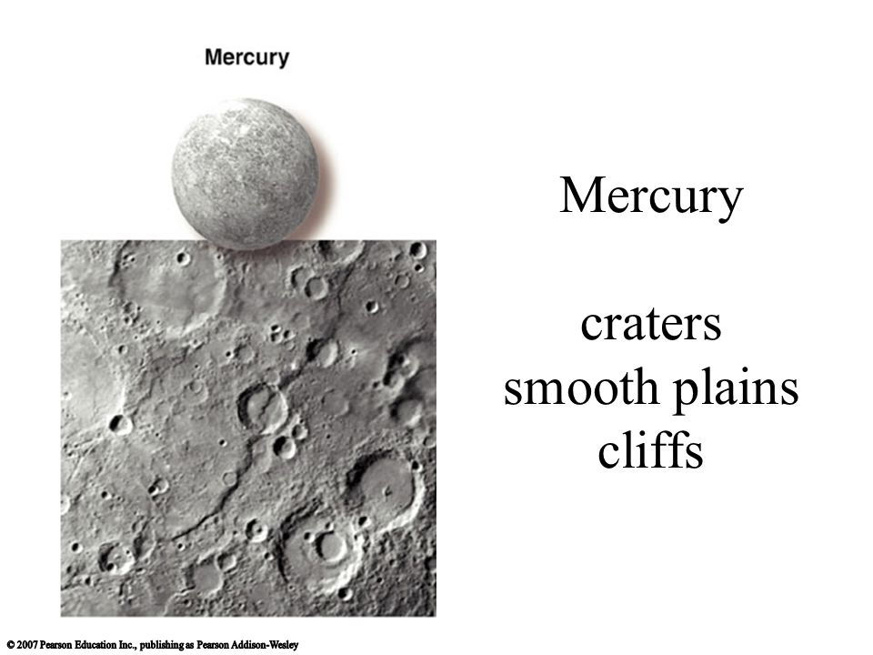 Mercury craters smooth plains cliffs