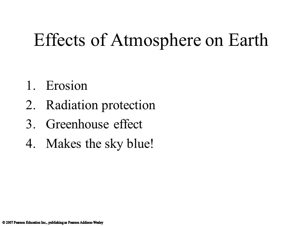 Effects of Atmosphere on Earth 1.Erosion 2.Radiation protection 3.Greenhouse effect 4.Makes the sky blue!
