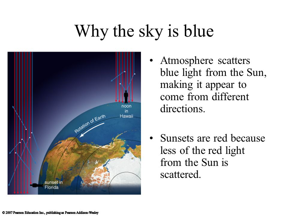 Why the sky is blue Atmosphere scatters blue light from the Sun, making it appear to come from different directions.