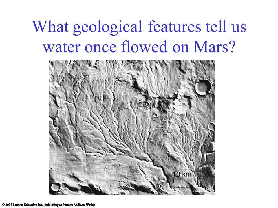 What geological features tell us water once flowed on Mars