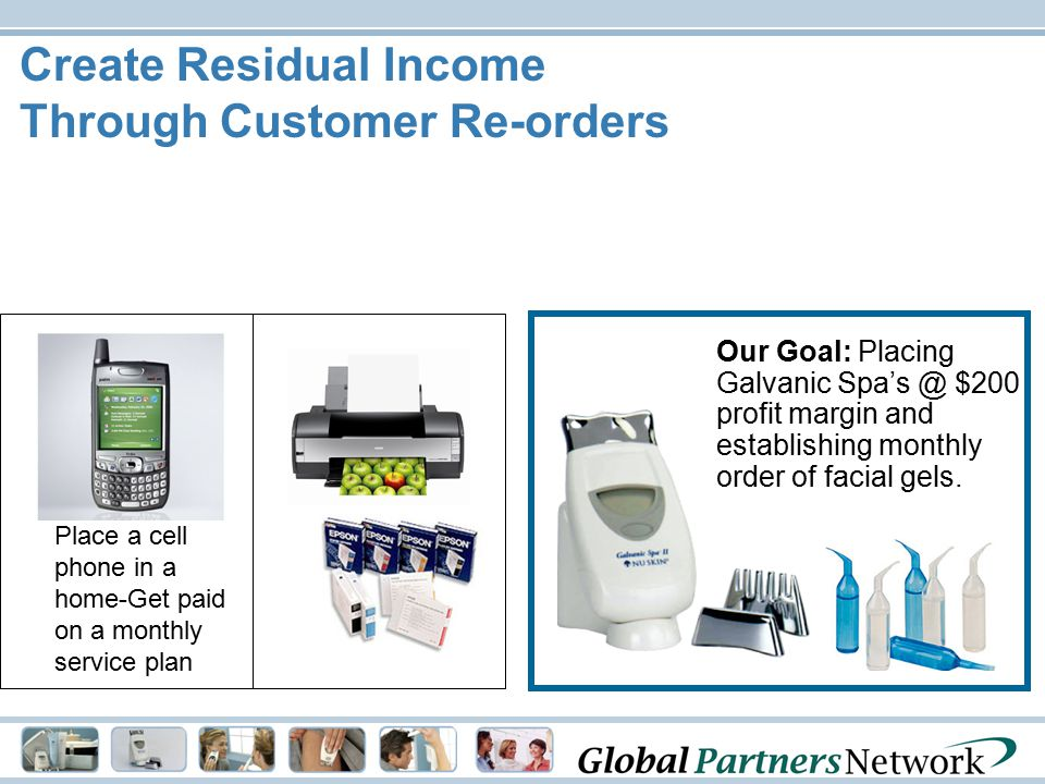 Create Residual Income Through Customer Re-orders Our Goal: Placing Galvanic Spa's @ $200 profit margin and establishing monthly order of facial gels.