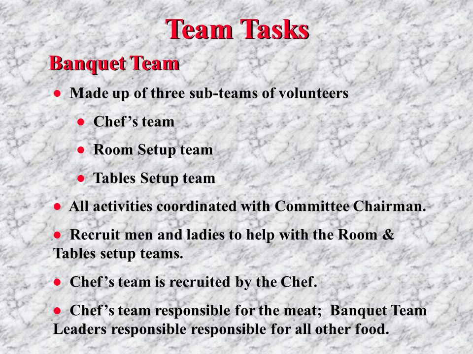 Banquet Team l Made up of three sub-teams of volunteers l Chef's team l Room Setup team l Tables Setup team l All activities coordinated with Committee Chairman.