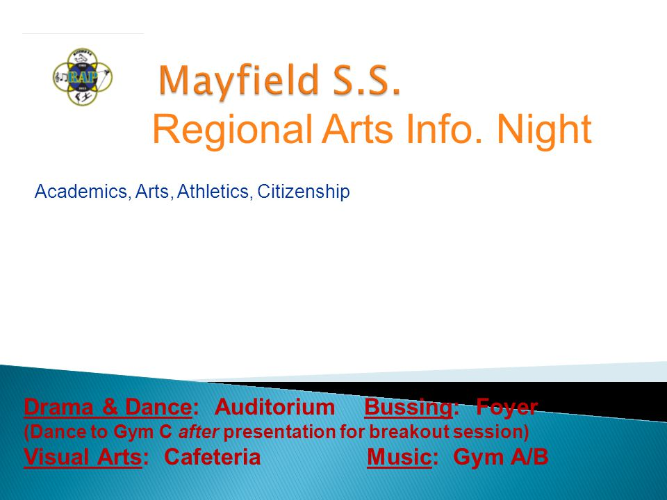Students enrolled in Mayfield RAP:  Dance  Drama  Music  Visual Arts  study a full range of academic credit courses leading to an Ontario Secondary School Diploma  Extra curricular clubs and sports