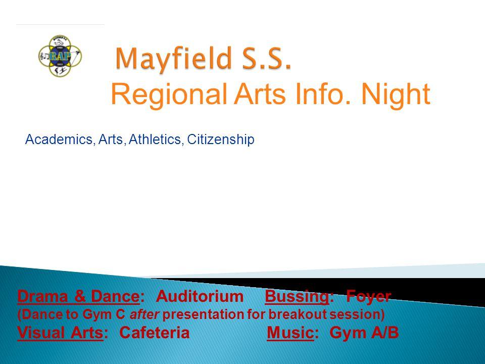 Academics, Arts, Athletics, Citizenship Regional Arts Info.