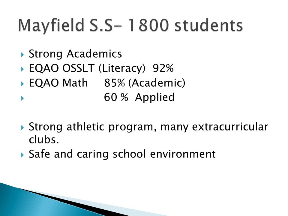 Mayfield Secondary School Thank you for attending. Academics, Arts, Athletics, Citizenship
