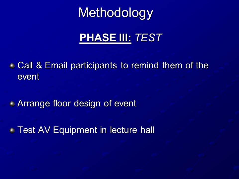 Methodology PHASE III: TEST Call & Email participants to remind them of the event Arrange floor design of event Test AV Equipment in lecture hall