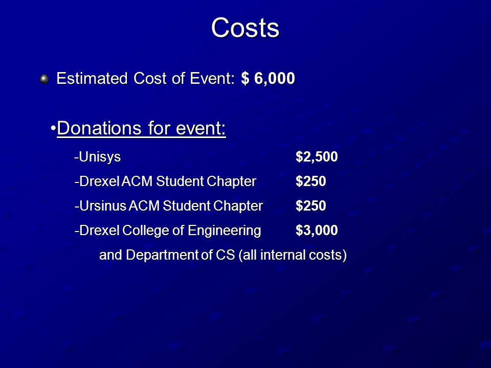 Costs Estimated Cost of Event: $ 6,000 Donations for event:Donations for event: -Unisys $2,500 -Unisys $2,500 -Drexel ACM Student Chapter $250 -Ursinus ACM Student Chapter $250 -Drexel College of Engineering $3,000 and Department of CS (all internal costs)