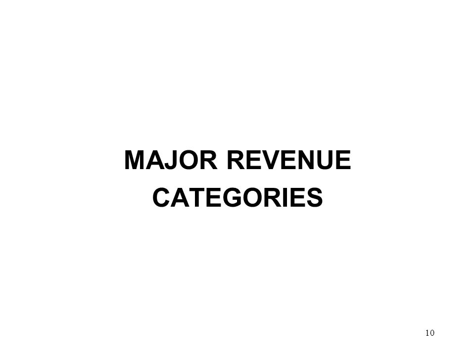 10 MAJOR REVENUE CATEGORIES