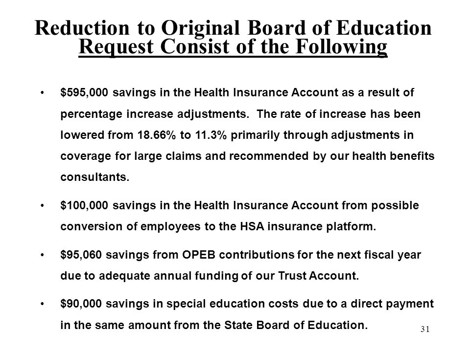 31 Reduction to Original Board of Education Request Consist of the Following $595,000 savings in the Health Insurance Account as a result of percentage increase adjustments.