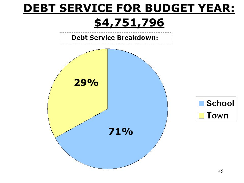 45 DEBT SERVICE FOR BUDGET YEAR: $4,751,796 Debt Service Breakdown: 71% 29%