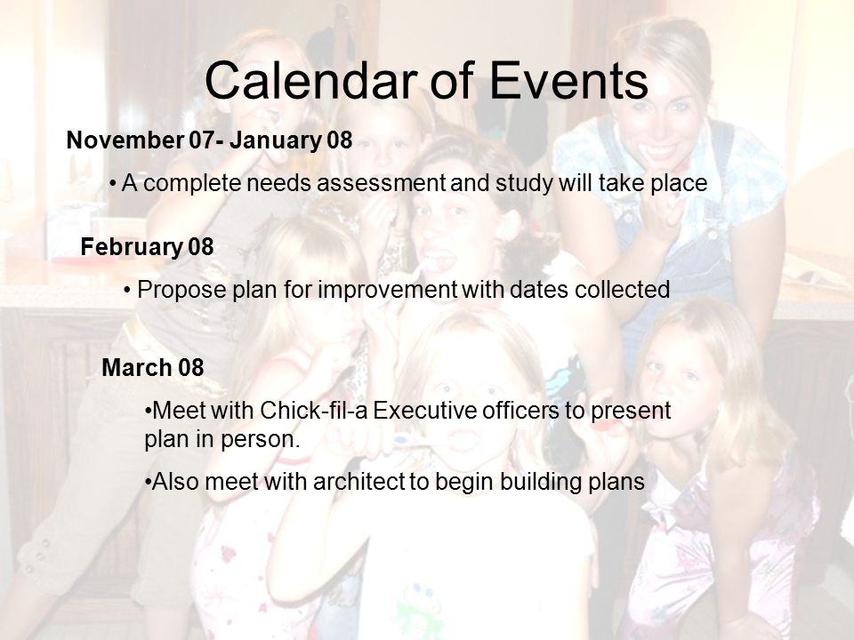 Calendar of Events November 07- January 08 A complete needs assessment and study will take place February 08 Propose plan for improvement with dates c