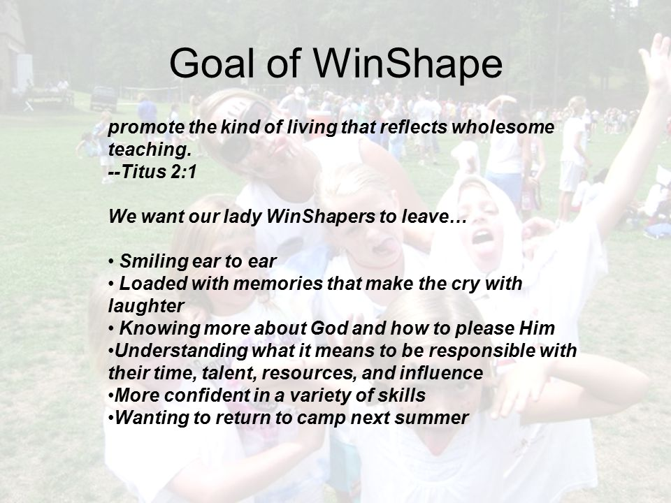 Goal of WinShape promote the kind of living that reflects wholesome teaching. --Titus 2:1 We want our lady WinShapers to leave… Smiling ear to ear Loa
