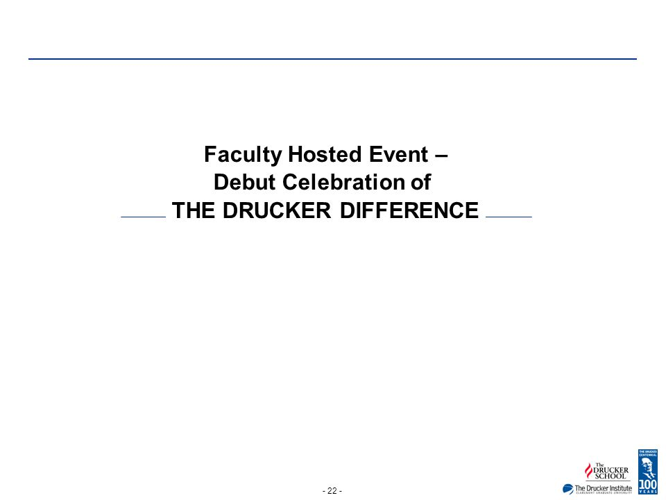 - 22 - Faculty Hosted Event – Debut Celebration of THE DRUCKER DIFFERENCE