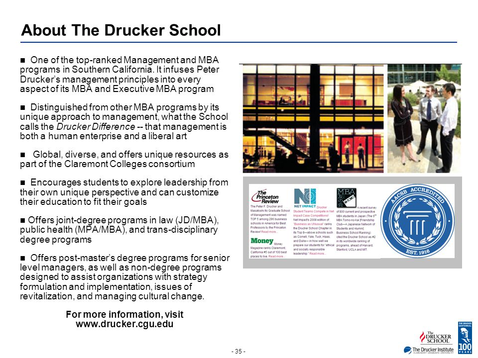 - 35 - About The Drucker School One of the top-ranked Management and MBA programs in Southern California. It infuses Peter Drucker's management princi