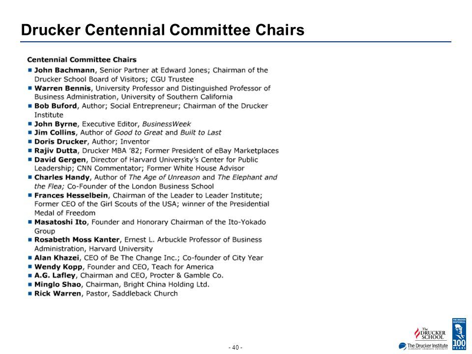 - 40 - Drucker Centennial Committee Chairs