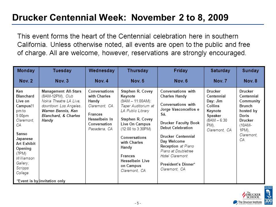 - 5 - Drucker Centennial Week: November 2 to 8, 2009 Monday Nov.