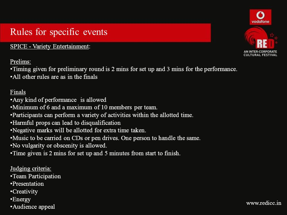 Rules for specific events SPICE - Variety Entertainment: Prelims: Timing given for preliminary round is 2 mins for set up and 3 mins for the performan