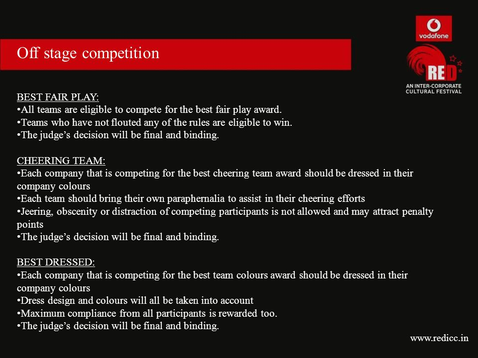 Off stage competition BEST FAIR PLAY: All teams are eligible to compete for the best fair play award. Teams who have not flouted any of the rules are
