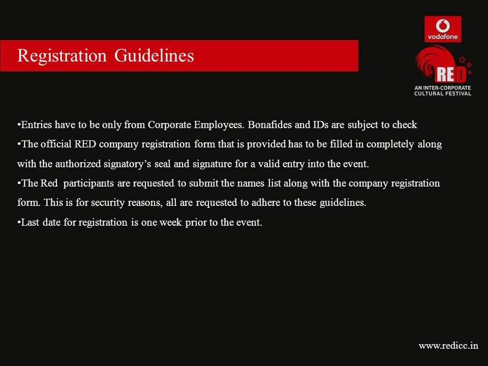 Registration Guidelines Entries have to be only from Corporate Employees.