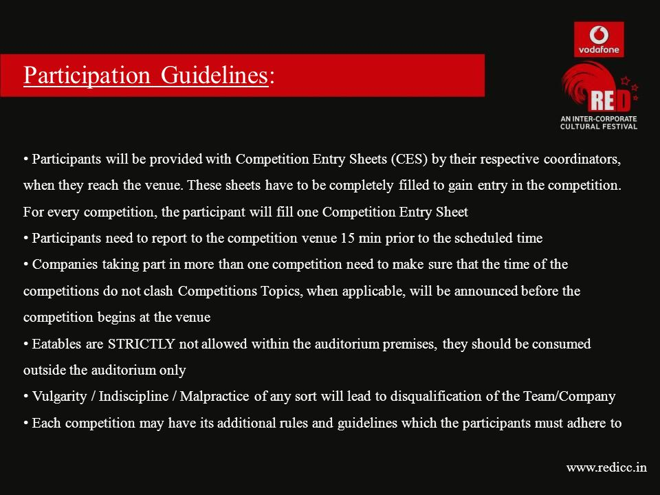 Participation Guidelines: Participants will be provided with Competition Entry Sheets (CES) by their respective coordinators, when they reach the venu