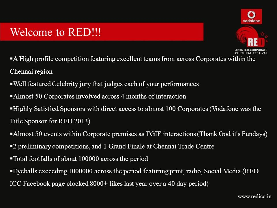 Welcome to RED!!!  A High profile competition featuring excellent teams from across Corporates within the Chennai region  Well featured Celebrity ju