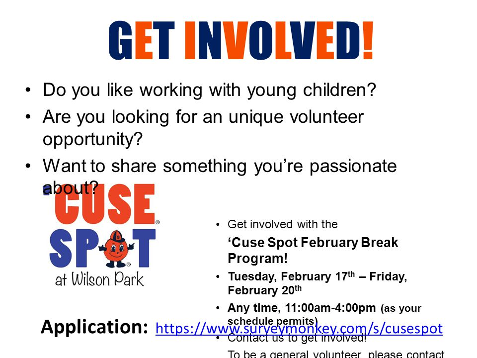 GET INVOLVED.Do you like working with young children.