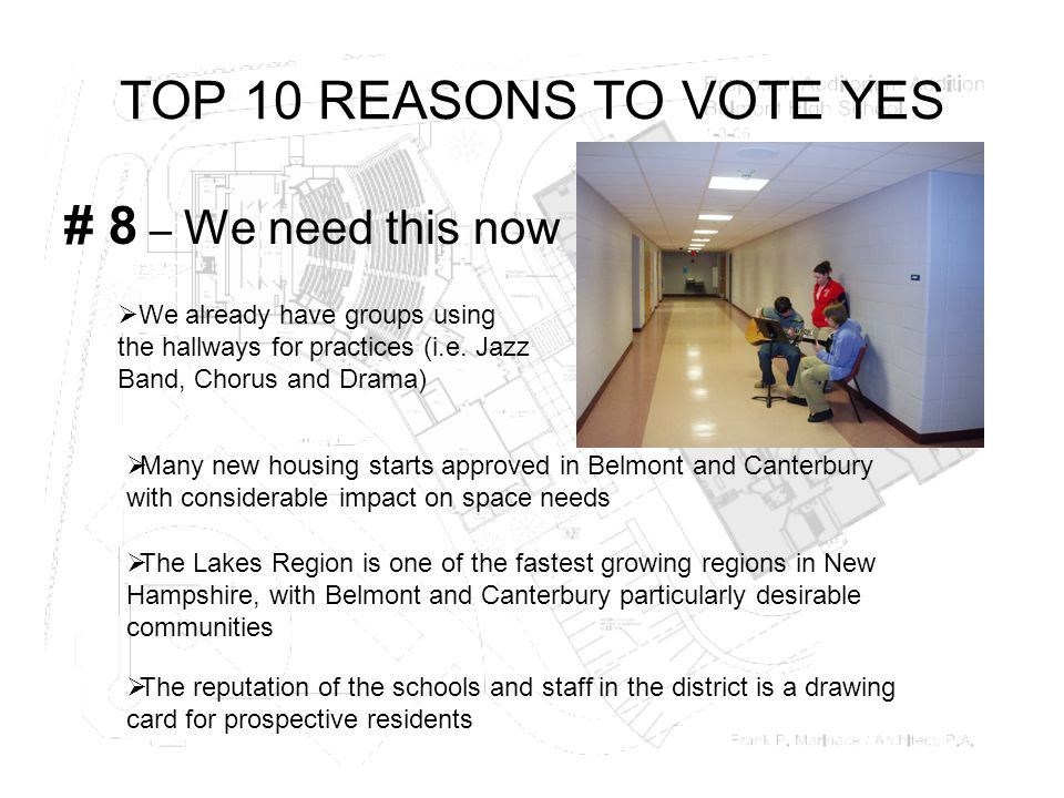 TOP 10 REASONS TO VOTE YES # 8 – We need this now  We already have groups using the hallways for practices (i.e.