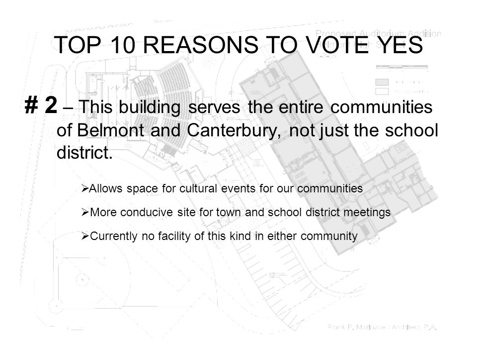 TOP 10 REASONS TO VOTE YES # 2 – This building serves the entire communities of Belmont and Canterbury, not just the school district.  Currently no f