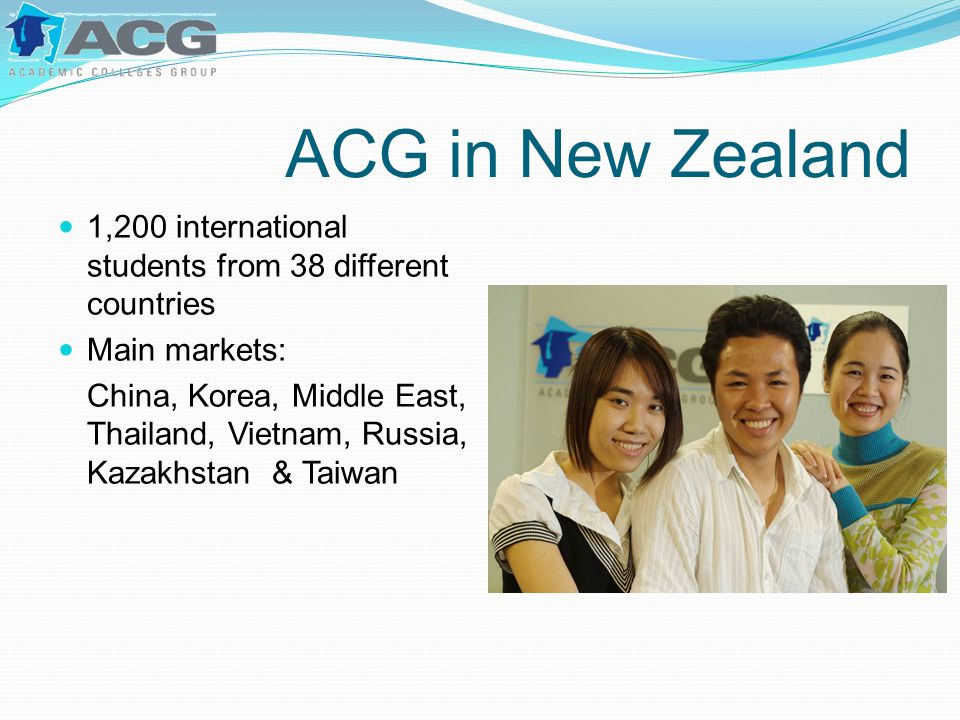 ACG in New Zealand 1,200 international students from 38 different countries Main markets: China, Korea, Middle East, Thailand, Vietnam, Russia, Kazakh
