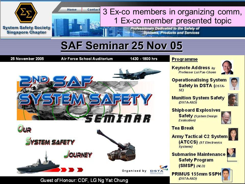 SAF Seminar 25 Nov 05 3 Ex-co members in organizing comm, 1 Ex-co member presented topic