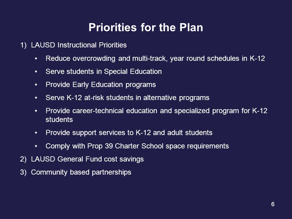 6 Priorities for the Plan 1)LAUSD Instructional Priorities Reduce overcrowding and multi-track, year round schedules in K-12 Serve students in Special