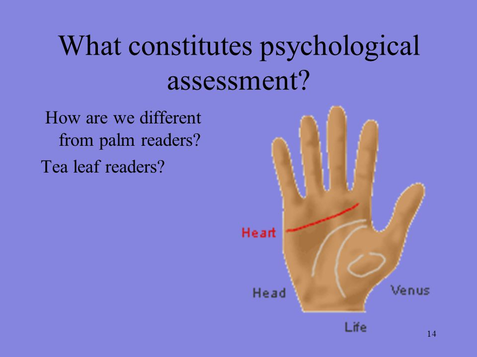 14 What constitutes psychological assessment. How are we different from palm readers.