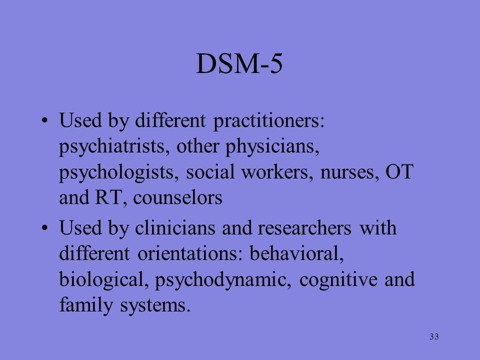 33 DSM-5 Used by different practitioners: psychiatrists, other physicians, psychologists, social workers, nurses, OT and RT, counselors Used by clinicians and researchers with different orientations: behavioral, biological, psychodynamic, cognitive and family systems.