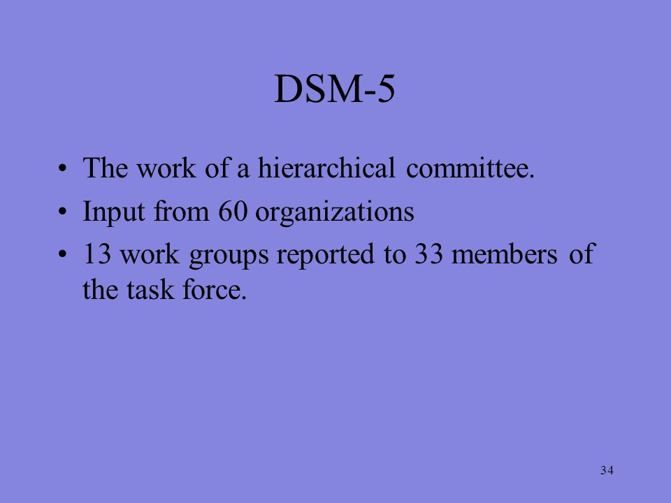 34 DSM-5 The work of a hierarchical committee.