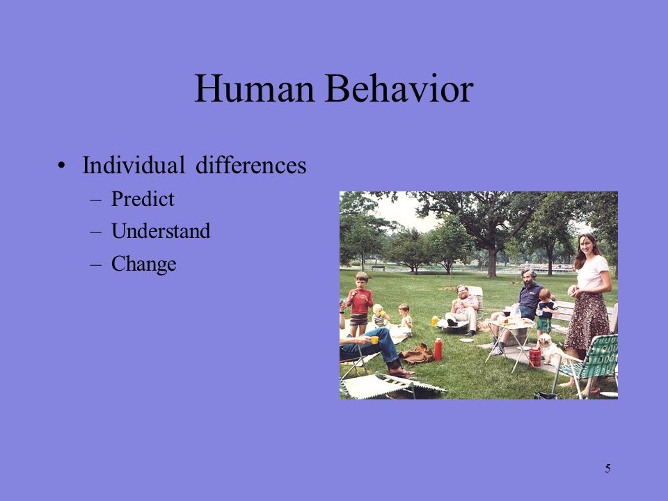 5 Human Behavior Individual differences –Predict –Understand –Change