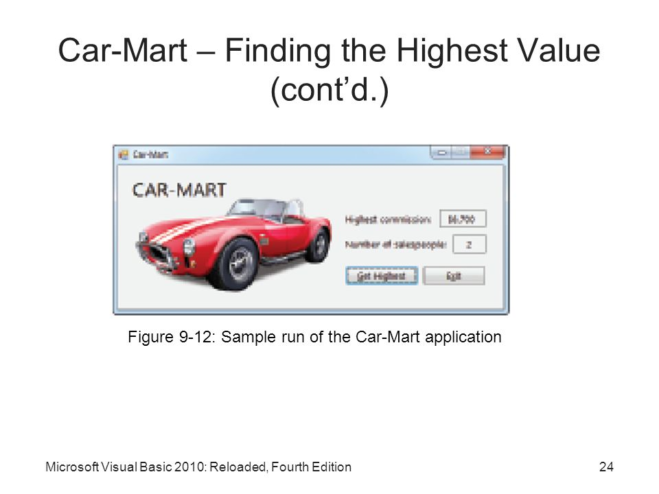 Microsoft Visual Basic 2010: Reloaded, Fourth Edition Car-Mart – Finding the Highest Value (cont'd.) Figure 9-12: Sample run of the Car-Mart applicati