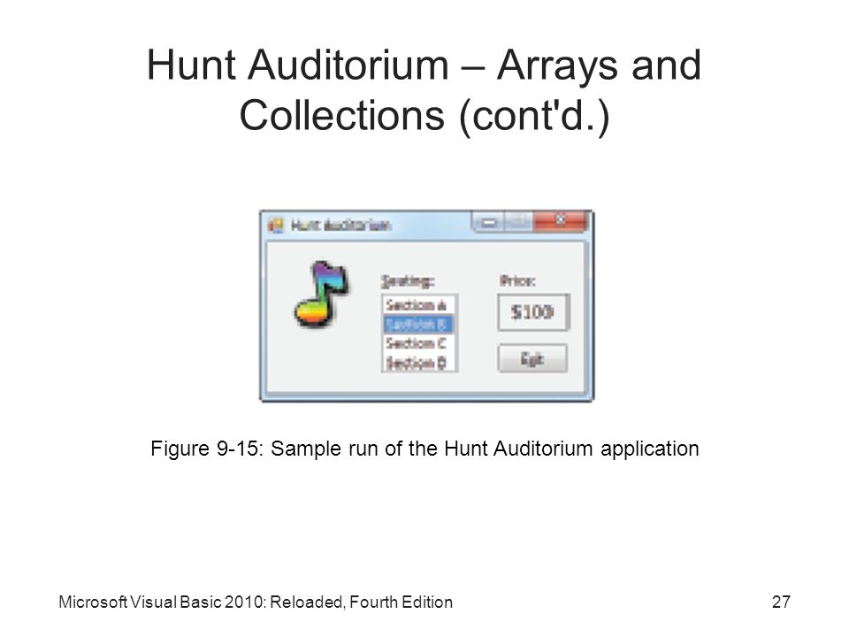 Microsoft Visual Basic 2010: Reloaded, Fourth Edition Hunt Auditorium – Arrays and Collections (cont'd.) Figure 9-15: Sample run of the Hunt Auditoriu