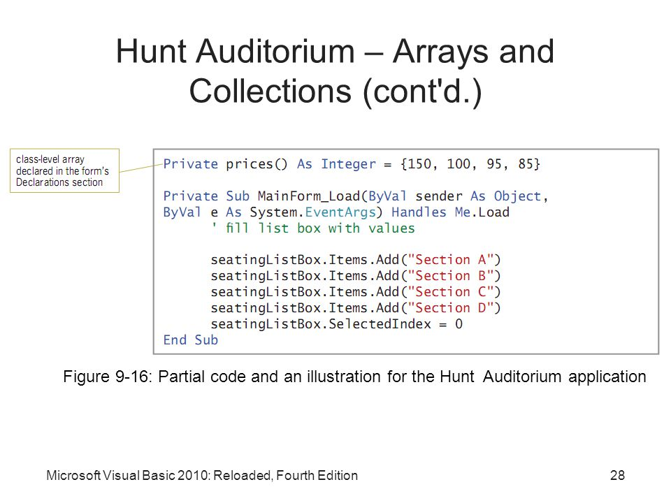 Microsoft Visual Basic 2010: Reloaded, Fourth Edition Hunt Auditorium – Arrays and Collections (cont'd.) Figure 9-16: Partial code and an illustration