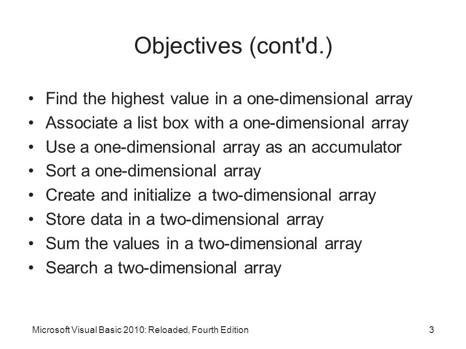 Objectives (cont'd.) Find the highest value in a one-dimensional array Associate a list box with a one-dimensional array Use a one-dimensional array a