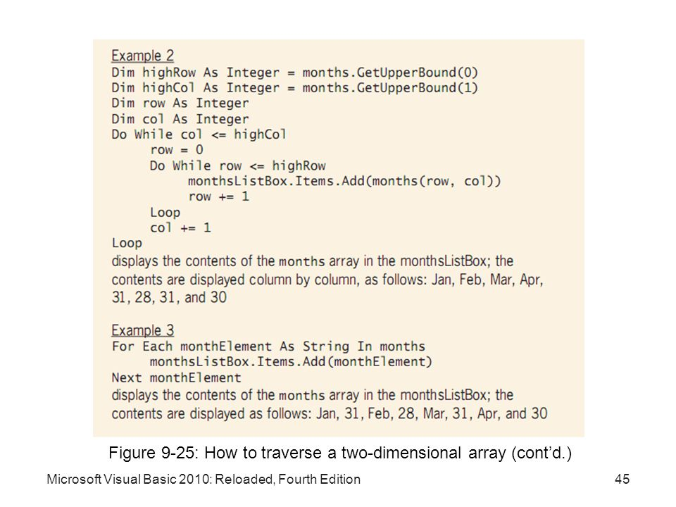Microsoft Visual Basic 2010: Reloaded, Fourth Edition Figure 9-25: How to traverse a two-dimensional array (cont'd.) 45