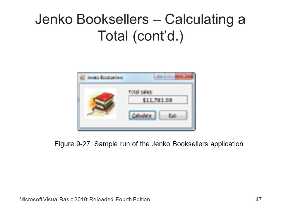 Microsoft Visual Basic 2010: Reloaded, Fourth Edition Figure 9-27: Sample run of the Jenko Booksellers application Jenko Booksellers – Calculating a T