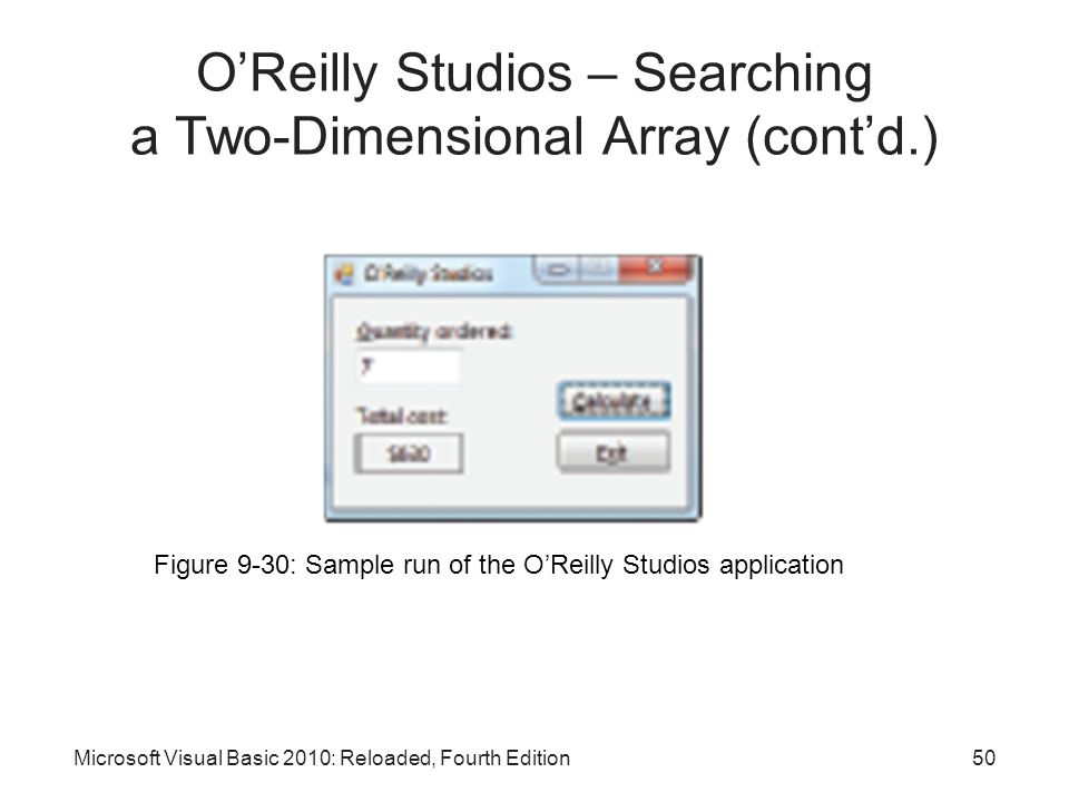 Microsoft Visual Basic 2010: Reloaded, Fourth Edition Figure 9-30: Sample run of the O'Reilly Studios application O'Reilly Studios – Searching a Two-D