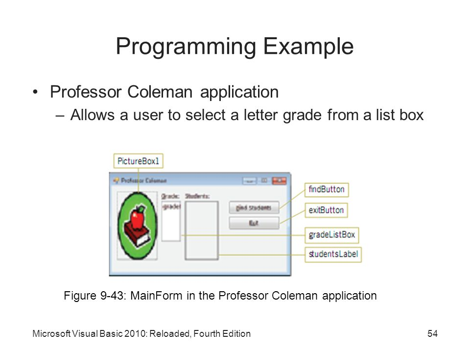 Professor Coleman application –Allows a user to select a letter grade from a list box Microsoft Visual Basic 2010: Reloaded, Fourth Edition Programmin