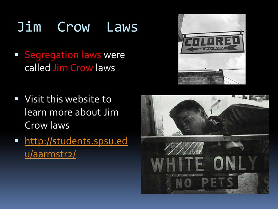 Plessy V. Ferguson  In 1892 the Supreme Court of the United States declared that separating blacks from whites was Constitutional as long as the faci