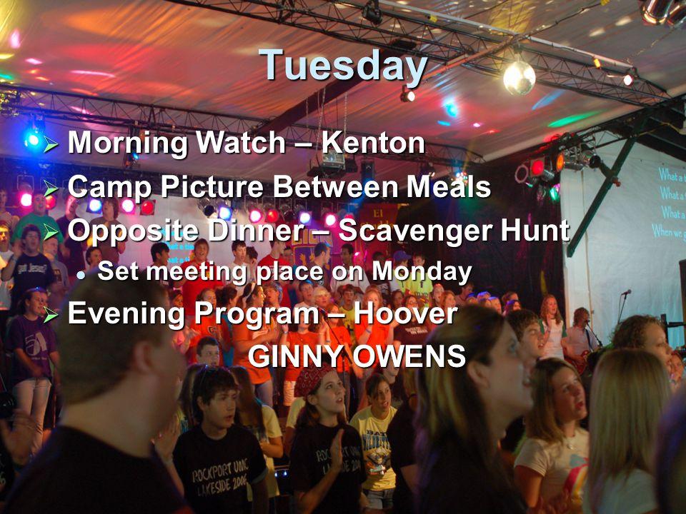 Wednesday  Morning Watch – Van Buren  Opposite Dinner – Prayer Walk  Evening Program – Sadie Hawkins Dance Sadie Hawkins Dance Auction Auction Bands.